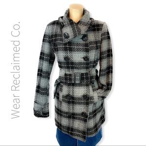 WAREHOUSE ONE Tweed Plaid Belted Winter Coat